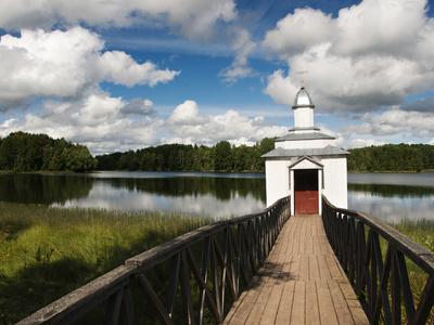 Monastic Bath on Pogostskoye Lake, Pokrovo-Tervenichesky Monastery, Leningrad Region, Russia Stretched Canvas Print
