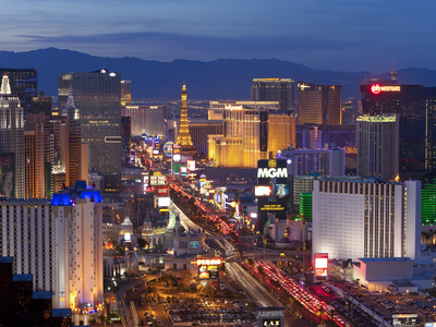 United States of America, Nevada, Las Vegas, Elevated Dusk View of the Hotels and Casinos Along the Stretched Canvas Print