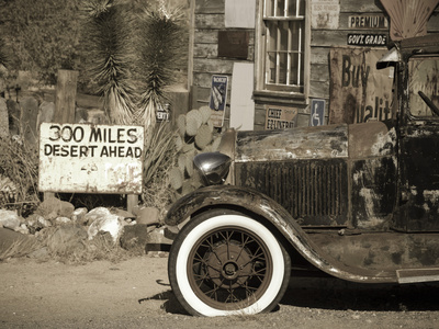 USA, Arizona, Route 66, Hackberry General Store, 300 Miles Desert Ahead Sign Stretched Canvas Print