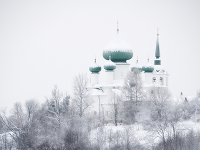 Church of St. John the Baptist in Winter, Staraya Ladoga, Leningrad Region, Russia Stretched Canvas Print