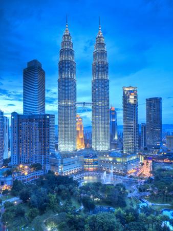 Petronas Towers and Klcc, Kuala Lumpur, Malaysia Stretched Canvas Print