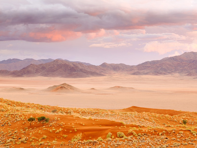 Sunset in the Namibrand Nature Reserve Located South of Sossusvlei, Namibia, Africa Stretched Canvas Print