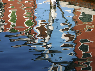 Canal Reflections, Burano, Veneto Region, Italy Stretched Canvas Print