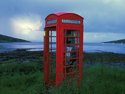 Phone Box or Booth on the Edge of Nowhere, Isle of Rum, Scotland Stretched Canvas Print