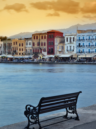 Chania at Dusk, Crete, Greece Stretched Canvas Print