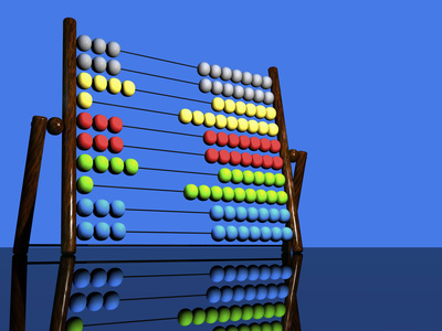 Illustration of a Colorful Abacus Reflected on a Glossy Table Top Surface Stretched Canvas Print