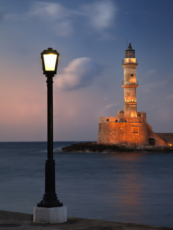Lighthouse and Lighted Lamp Post at Dusk, Chania, Crete, Greece Stretched Canvas Print