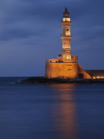 Lighhouse at Dusk, Chania, Crete, Greece Stretched Canvas Print