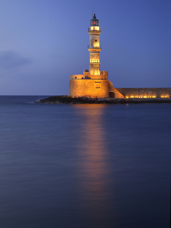 Lighthouse at Chania, Crete, Greece Stretched Canvas Print