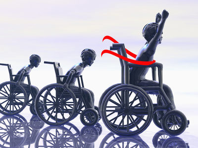 Illustration of a Boy Winning a Wheelchair Race Stretched Canvas Print