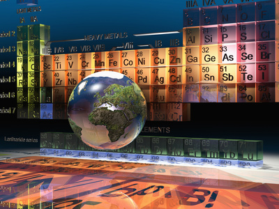 Illustration of the Building Blocks of the Earth, the Periodic Table of the Elements, and a Globe Stretched Canvas Print
