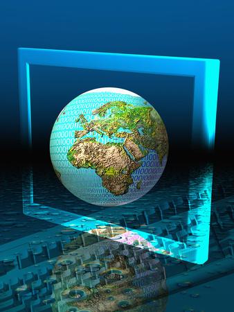 Global Digital Communication Stretched Canvas Print