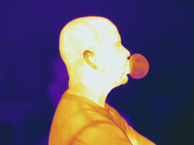 Thermogram Showing a Man Blowing a Bubble Stretched Canvas Print
