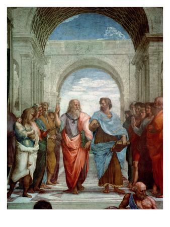 Aristotle and Plato: Detail from the School of Athens in the Stanza Della Segnatura, 1510-11 œuvre par Raphael