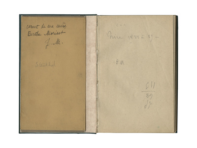 Inside Cover and Front Page from a Sketchbook, 'Sketchbook of My Mother Berthe Morisot', 1888-89 Stretched Canvas Print