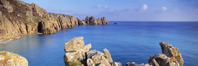 Rock Formations at Seaside, Logan Rock, Porthcurno Bay, Cornwall, England Stretched Canvas Print