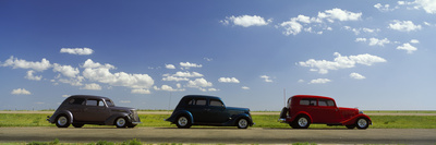 Three Hot Rods Moving on a Highway, Route 66, USA Stretched Canvas Print