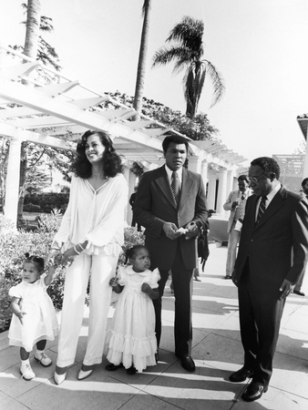 Muhammad Ali and Family at Ali's Semi-Open House, June of 1979 Stretched Canvas Print