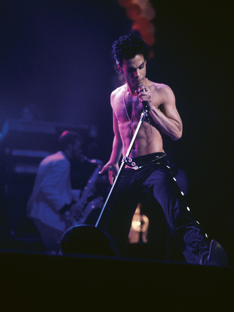 Prince, Shirtless on Stage, March 1986 Stretched Canvas Print