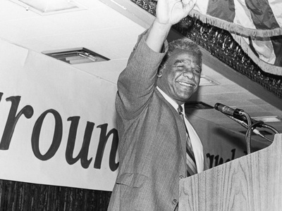 Harold Washington, Waves to Supporters Stretched Canvas Print
