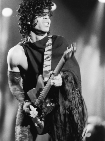 Prince, Engages the Guitar During Concert, 1984 Stretched Canvas Print