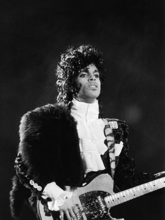 Prince Plays Guitar During Concert, 1984 Stretched Canvas Print