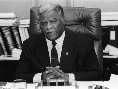 Harold Washington, During an Office Interview, 1987 Stretched Canvas Print