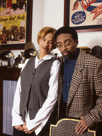 Filmmaker Spike Lee at Home with Wife Tonya Lewis Lee, 1994 Stretched Canvas Print