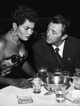 Pearl Bailey Speaks and Robert Mitchum, August 1954 Stretched Canvas Print