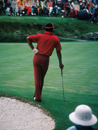 Professional Golfer Lee Elder Waits His Turn to Putt,  April 1975 Master Tournament Stretched Canvas Print