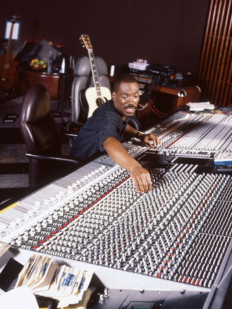Comedian and Actor Eddie Murphy Listens to the Playback of One of His Tunes, April 1994 Stretched Canvas Print