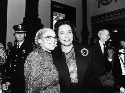 Rosa Parks and Coretta Scott King, at the Rosa Parks Sculpture Unveiling,1991 Stretched Canvas Print