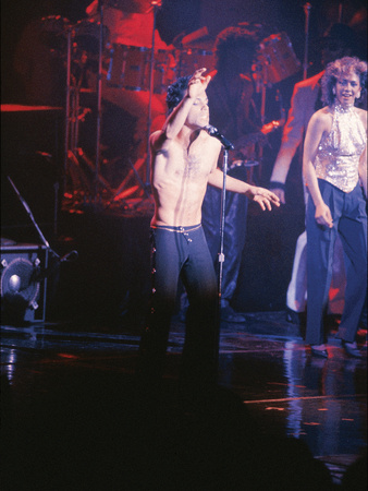 Prince, Performing Shirtless, March 1986 Stretched Canvas Print