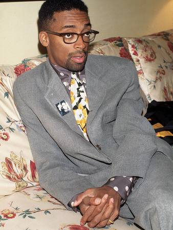 Filmmaker Spike Lee, Wearing a Malcolm X Button, 1992 Stretched Canvas Print