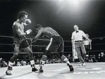 "Sugar Ray Leonard, ""Comeback Fight"" Against Kevin Howard, May 11, 1984 Stretched Canvas Print"