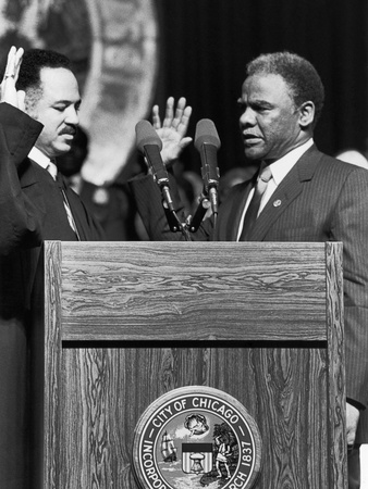 Harold Washington, Swearing in as Mayor of Chicago, Illinois 1983 Stretched Canvas Print
