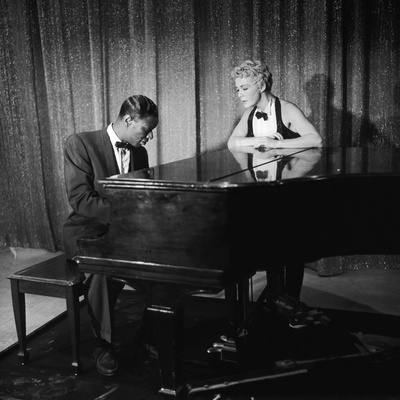Entertainer Nat King Cole and His Guest Star Betty Hutton, the Nat King Cole Show, 1957 Stretched Canvas Print