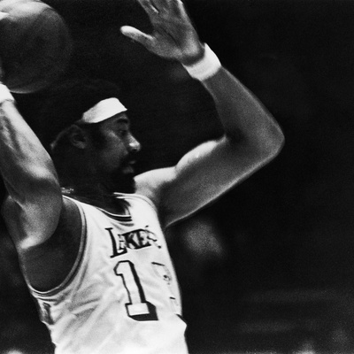 Basketball Star Wilt Chamberlain, Member of the Los Angeles Lakers, 1972 Stretched Canvas Print