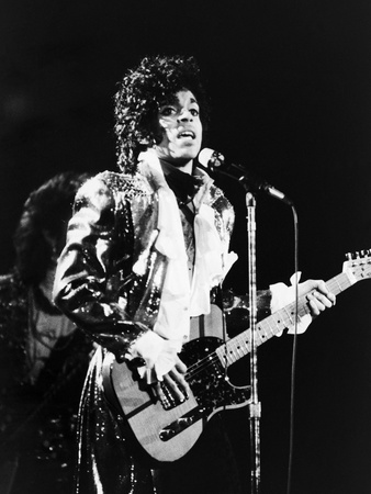 Prince, Rocks the Stage During His Purple Rain Tour in 1984 Stretched Canvas Print