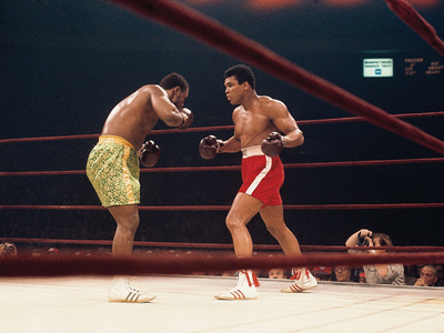 "Muhammad Ali and Joe Frazier, ""Fight of the Year"", March 8, 1971 Stretched Canvas Print"