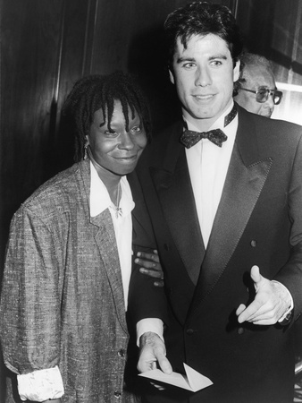 Whoopi Goldberg and Fellow Actor John Travolta, 1986 Stretched Canvas Print