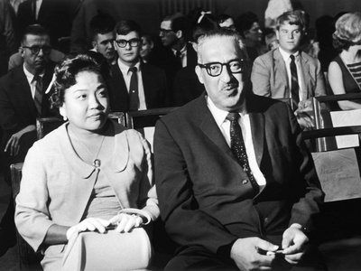 Cecelie and Thurgood Marshall Await Outcome at Senate Judiciary Committee Hearings, 1967 Stretched Canvas Print