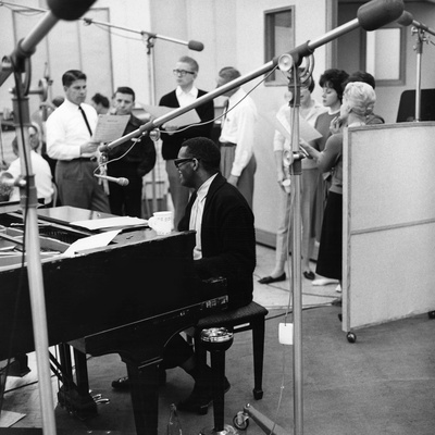 Ray Charles Recording Session Stretched Canvas Print