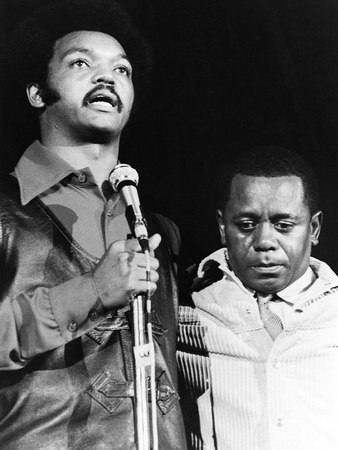 Jesse jackson and Flip Wilson - 1971 Stretched Canvas Print