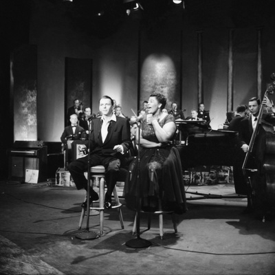 Ella Fitzgerald and Frank Sinatra - 1958 Stretched Canvas Print