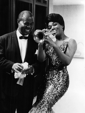 Louis Armstrong and Jewel Brown Stretched Canvas Print