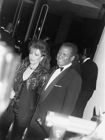 Sidney Poitier and Jackie Collins - 1990 Stretched Canvas Print