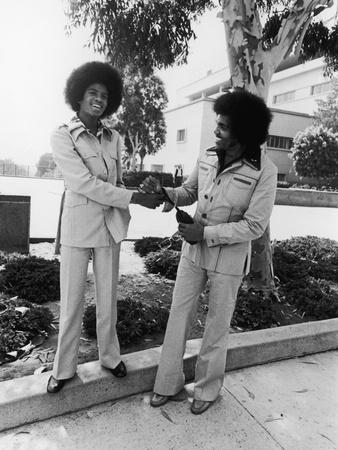 Michael Jackson and Joseph Jackson - 1975 Stretched Canvas Print