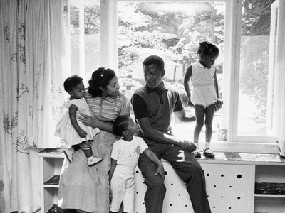 Sidney Poitier and Family Stretched Canvas Print