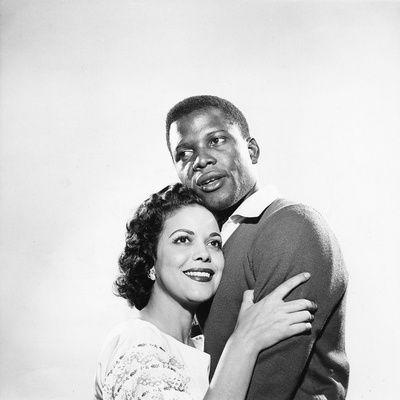 Sidney Poitier and Hilda Simms Stretched Canvas Print